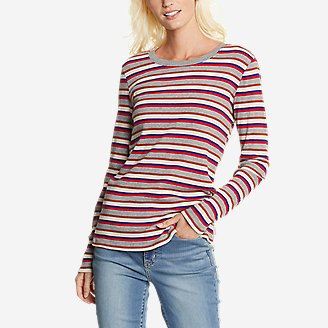 Women's Myriad Rib Long-Sleeve Crew - Stripe in Red