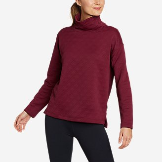 Women's Discovery Funnel-Neck Pullover in Red