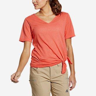 Women's Day Hiker Burnout Asymmetrical T-Shirt in Red