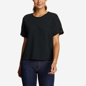 Women's Go-To Embroidered-Sleeve T-Shirt in Black