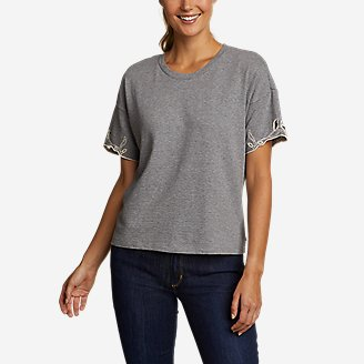 Women's Go-To Embroidered-Sleeve T-Shirt in Gray