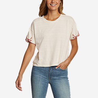 Women's Go-To Embroidered-Sleeve T-Shirt in White