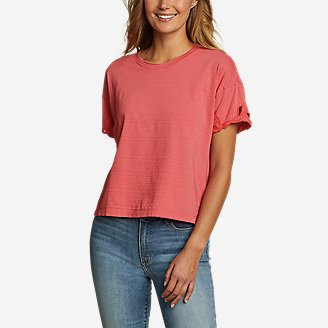 Women's Go-To Embroidered-Sleeve T-Shirt in Red