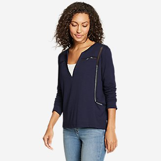 Women's Gate Check 3/4-Sleeve Notch-Neck Taped T-Shirt in Blue
