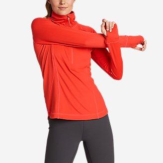 Women's High Route Grid Fleece 1/2-Zip in Red