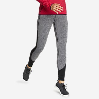 Women's Crossover Winter High-Rise Leggings - Color-Blocked in Black