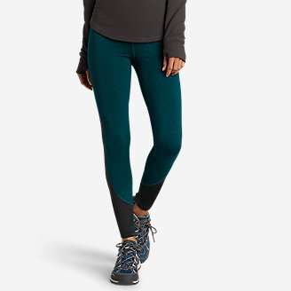 Women's Crossover Winter High-Rise Leggings - Color-Blocked in Green