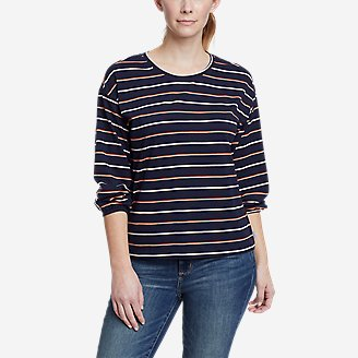 Women's Myriad 3/4-Length Volume Sleeve T-Shirt - Stripe in Blue
