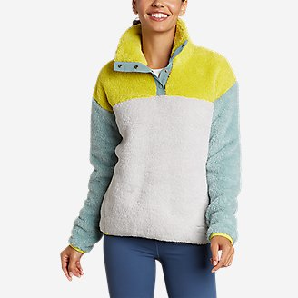 Women's Quest Plush Snap Mock - Colorblock in Yellow