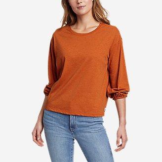 Women's Myriad 3/4-Length Puff Sleeve Top - Solid in Orange
