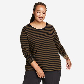 Women's Myriad Long-Sleeve Crew T-Shirt - Stripe in Green