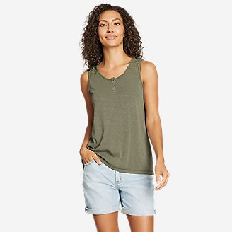 Women's Gate Check Button-Front Tank Top in Green
