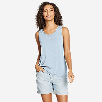 Women's Gate Check Button-Front Tank Top in Blue