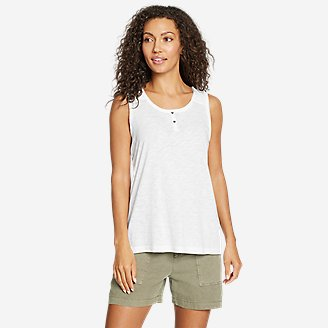 Women's Gate Check Button-Front Tank Top in White