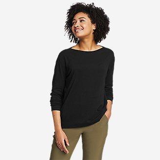 Women's Elevate Long-Sleeve Boat-Neck T-Shirt in Black