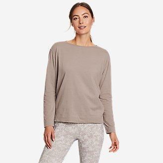 Women's Elevate Long-Sleeve Boat-Neck T-Shirt in Gray