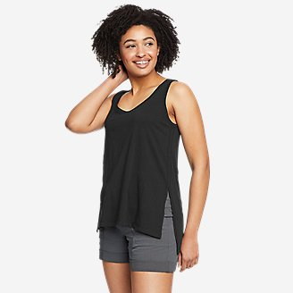 Women's Tempo Light Step-Hem Tank Top in Black