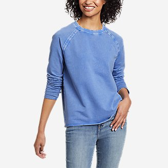 Women's Mineral Wash Terry Crew Sweatshirt in Blue