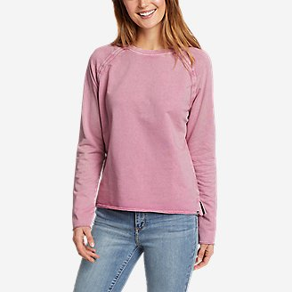 Women's Mineral Wash Terry Crew Sweatshirt in Purple