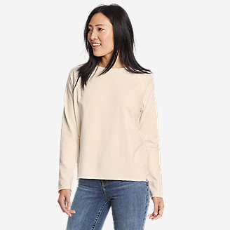 Women's Mineral Wash Terry Crew Sweatshirt in White