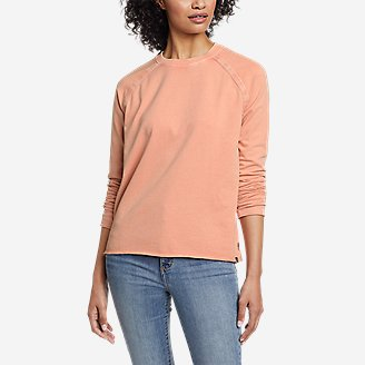Women's Mineral Wash Terry Crew Sweatshirt in Orange