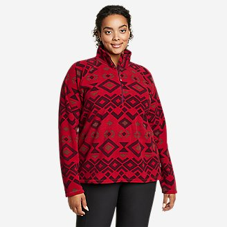Women's Quest Fleece 1/4-Zip - Printed in Red