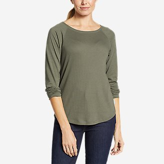 Women's Gate Check Mixed-Rib T-Shirt in Green