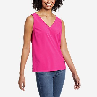 Women's Departure V-Neck Tank Top - Solid in Red
