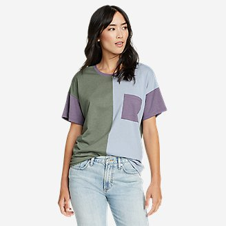 Women's Myriad Short-Sleeve Crew T-Shirt - Color Block in Green
