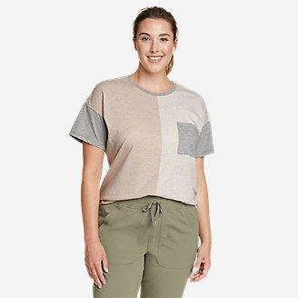 Women's Myriad Short-Sleeve Crew T-Shirt - Color Block in Beige