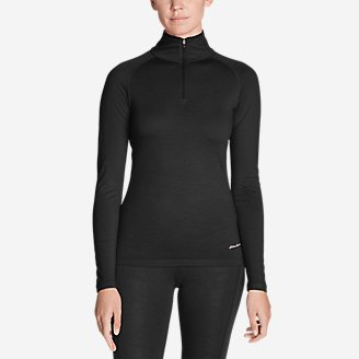 Women's Midweight FreeDry Merino Hybrid Baselayer 1/4-Zip in Black