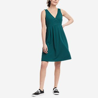 Women's Aster Crossover Dress - Solid in Green