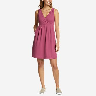 Women's Aster Crossover Dress - Solid in Red
