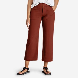 Women's Departure Wide-Leg Utility Crop Pants in Brown