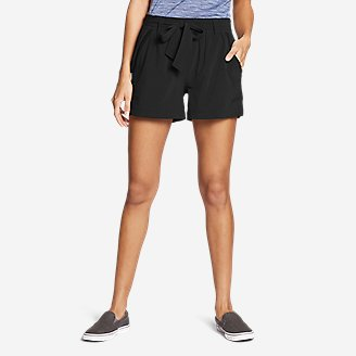 Women's Departure High-Rise Mesh-Inset Shorts in Black