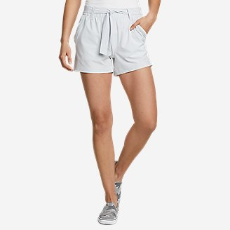 Women's Departure High-Rise Mesh-Inset Shorts in Beige