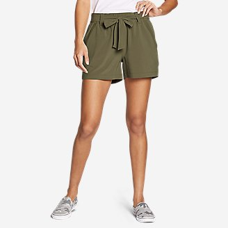 Women's Departure High-Rise Mesh-Inset Shorts in Green