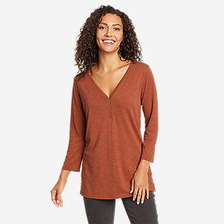 Women's Gate Check 3/4-Sleeve Tunic in Red