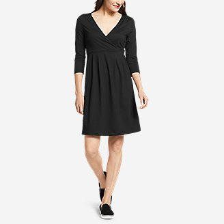 Women's Aster 3/4-Sleeve Crossover Dress with Pockets - Solid in Black