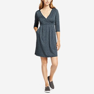 Women's Aster 3/4-Sleeve Crossover Dress with Pockets - Space Dye in Green