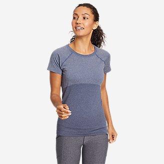Women's Seamless Short-Sleeve Crew T-Shirt in Blue