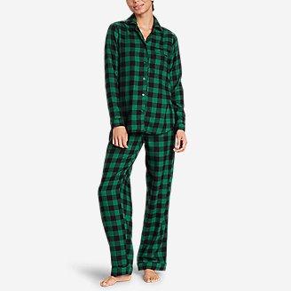 Women's Flannel Sleep Set in Green