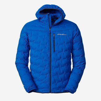 Men's MicroTherm FreeFuse Stretch Down Hooded Jacket in Blue