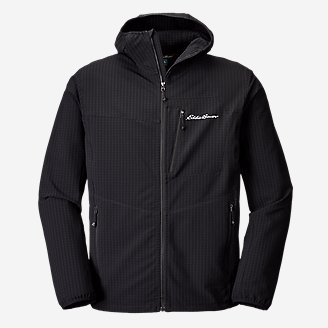 Men's Sandstone Backbone Grid Hoodie in Black