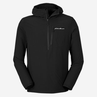 Men's Sandstone Light Soft Shell 1/2-Zip Hoodie in Black