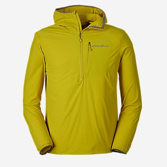 Men's Sandstone Light Soft Shell 1/2-Zip Hoodie in Green