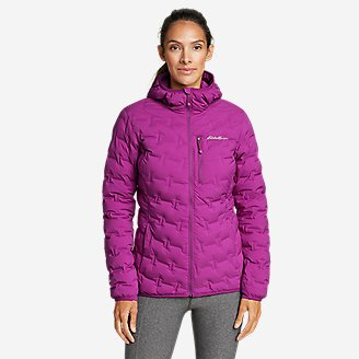 Women's MicroTherm FreeFuse Stretch Down Hooded Jacket in Purple