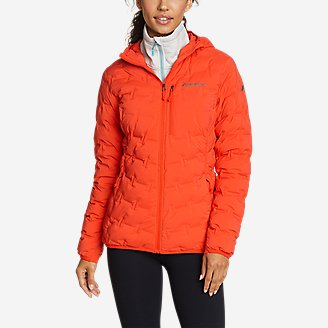 Women's MicroTherm FreeFuse Stretch Down Hooded Jacket in Red