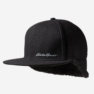 Men's Flat Brim Wool-Blend Cap in Black