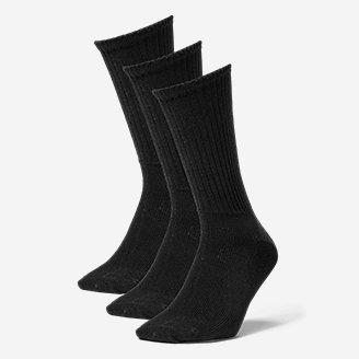 Men's Solid Crew Socks - 3 Pack in Black